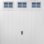 Medium Rib Horizontal Garage Door with Cascade Windows