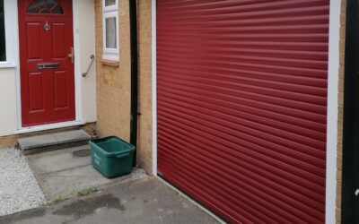 The red and white combination garage door
